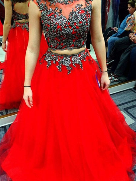 A-Line/Princess Sleeveless Scoop Long Red Satin Prom Dresses