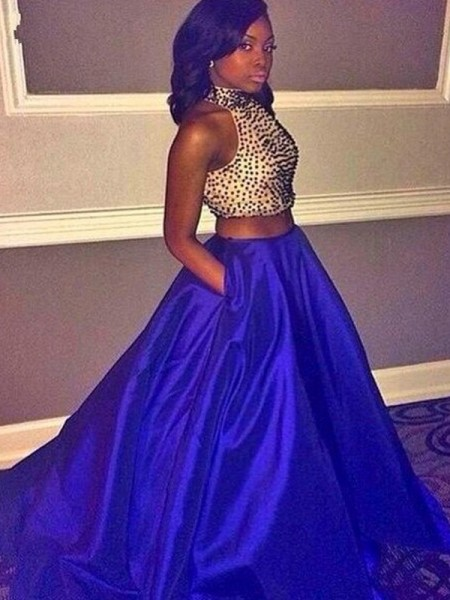 Ball Gown Sleeveless Halter Sweep Train Royal Blue Taffeta Prom Dresses
