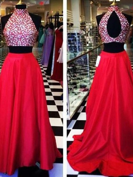 A-Line/Princess Sleeveless Halter Sweep Train Red Satin Prom Dresses