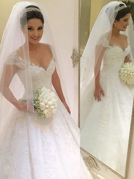 Ball Gown Sleeveless V-neck Long White Tulle Wedding Dresses