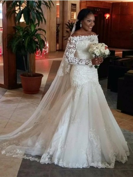 Mermaid Long Sleeves Off-the-Shoulder Long White Tulle Wedding Dresses