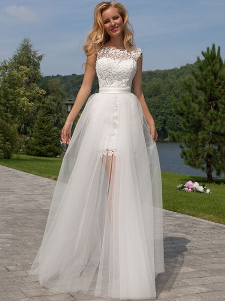 Sheath/Column Sleeveless Scoop Long White Tulle Wedding Dresses