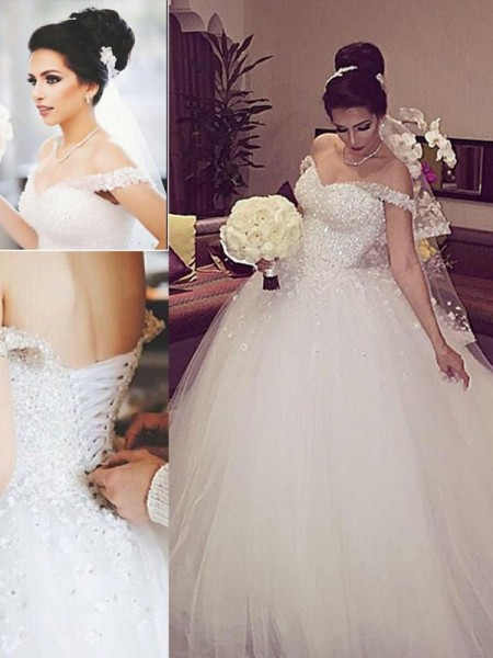 Ball Gown Sleeveless Off-the-Shoulder Court Train White Tulle Wedding Dresses