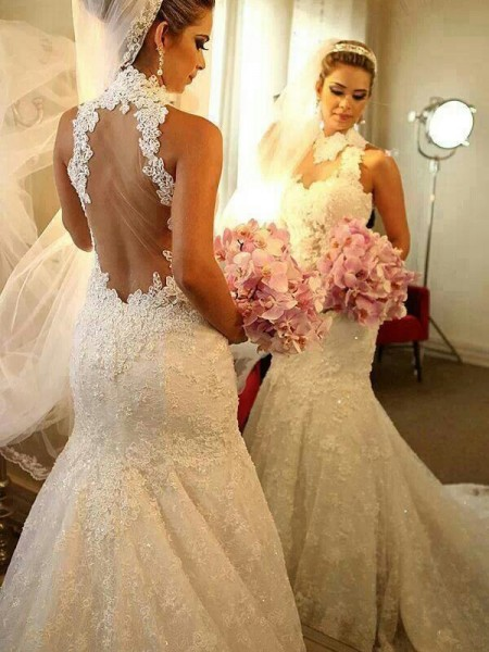 Mermaid Sleeveless High Neck Court Train White Lace Wedding Dresses