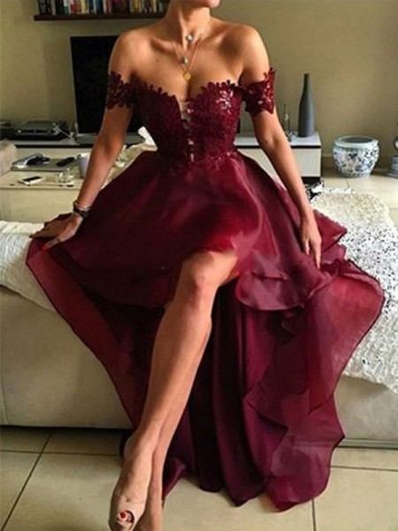 A-Line/Princess Sleeveless Off-the-Shoulder Asymmetrical Burgundy Organza Prom Dresses