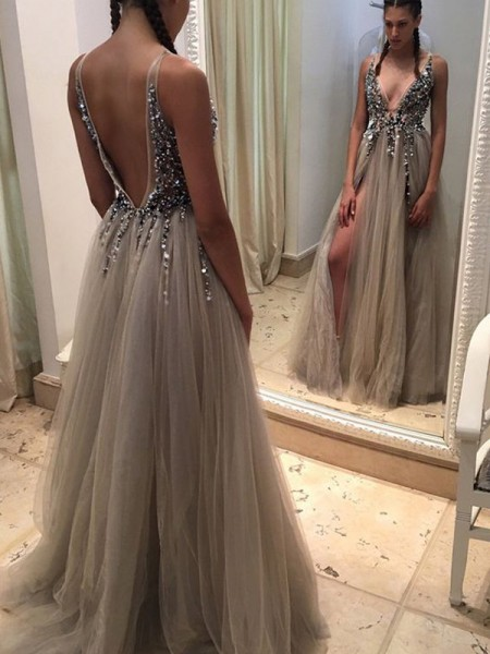 A-Line/Princess Sleeveless V-neck Long Champagne Tulle Prom Dresses