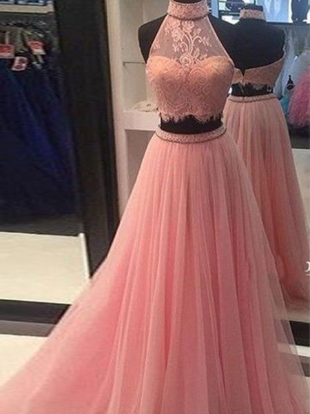 A-Line/Princess Sleeveless High Neck Long Pink Tulle Prom Dresses