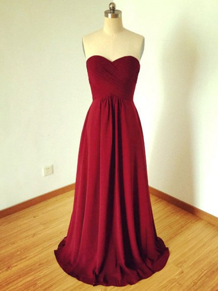 A-Line/Princess Sleeveless Sweetheart Long Burgundy Chiffon Bridesmaid Dresses