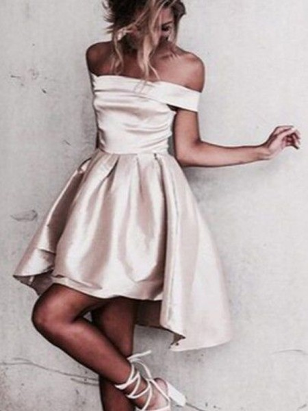 A-line/Princess Sleeveless Off-the-Shoulder Short Champagne Satin Homecoming Dresses