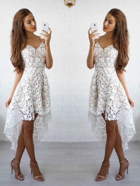 A-line/Princess Sleeveless Spaghetti Straps Short White Lace Homecoming Dresses
