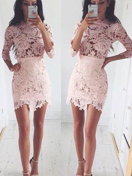A-line/Princess 1/2 Sleeves Scoop Short Pink Lace Homecoming Dresses
