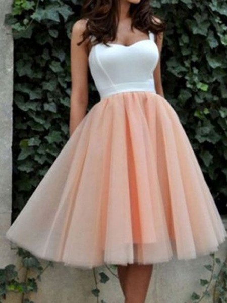 A-line/Princess Sleeveless Sweetheart Short Pink Tulle Homecoming Dresses