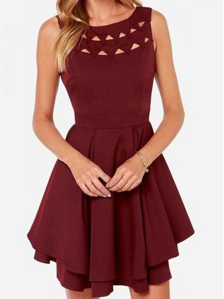 A-line/Princess Sleeveless Scoop Short Burgundy Jersey Homecoming Dresses