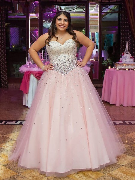 Ball Gown Sleeveless Sweetheart Long Pearl Pink Tulle Prom Dresses