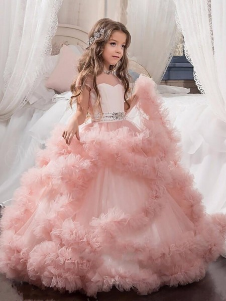 Ball Gown Short Sleeves Jewel Long Pink Tulle Flower Girl Dresses