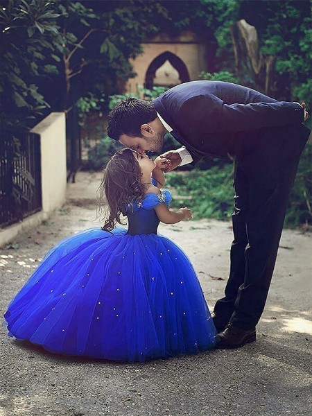 Ball Gown Sleeveless Off-the-Shoulder Long Royal Blue Tulle Flower Girl Dresses