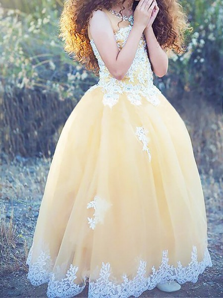 Ball Gown Sleeveless Jewel Long Champagne Tulle Flower Girl Dresses