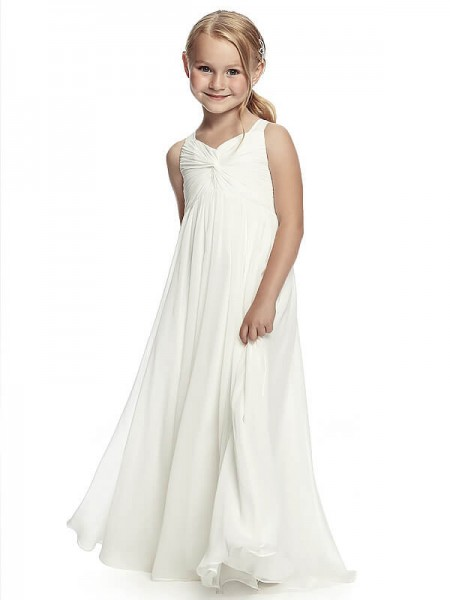 A-Line/Princess Sleeveless Straps Long White Chiffon Flower Girl Dresses
