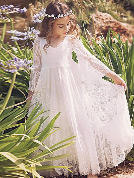 A-Line/Princess Long Sleeves V-neck Long White Lace Flower Girl Dresses