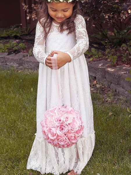 A-Line/Princess Long Sleeves Jewel Long Ivory Lace Flower Girl Dresses
