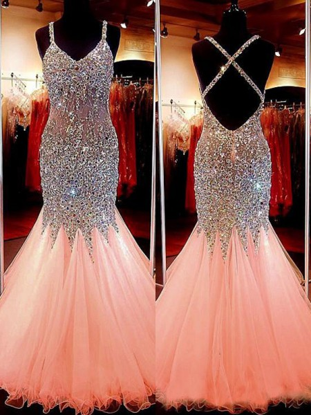 Mermaid Sleeveless V-neck Long Pink Tulle Prom Dresses