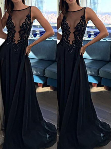 A-Line/Princess Sleeveless Bateau Sweep Train Black Chiffon Prom Dresses