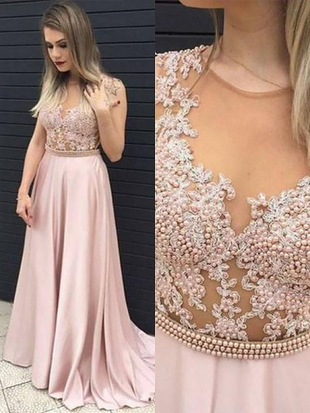 A-Line/Princess Sleeveless V-neck Long Pearl Pink Satin Prom Dresses