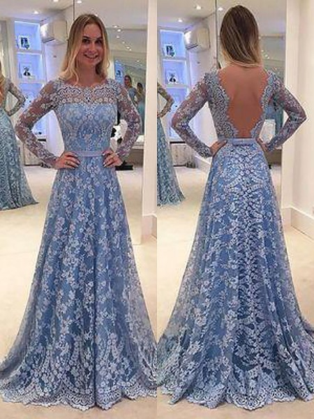 A-Line/Princess Long Sleeves Bateau Floor-Length Light Sky Blue Lace Prom Dresses