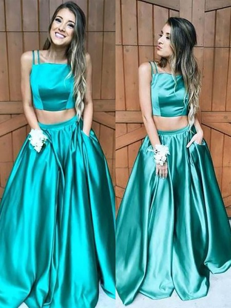 A-Line/Princess Sleeveless Square Long Dark Green Satin Prom Dresses
