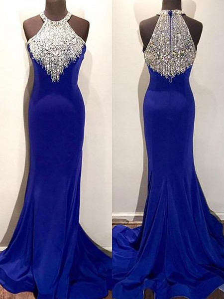 Mermaid Sleeveless Halter Sweep Train Royal Blue Spandex Prom Dresses