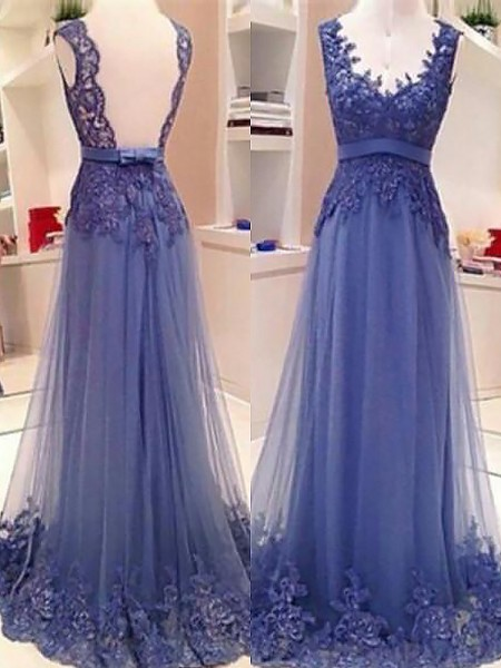 A-Line/Princess Sleeveless V-neck Long Blue Tulle Prom Dresses