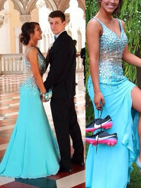 Mermaid Sleeveless V-neck Sweep Train Light Sky Blue Chiffon Prom Dresses