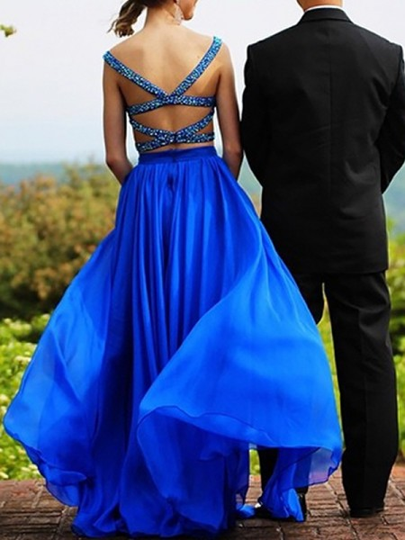 A-Line/Princess Sleeveless Sweetheart Long Royal Blue Chiffon Prom Dresses