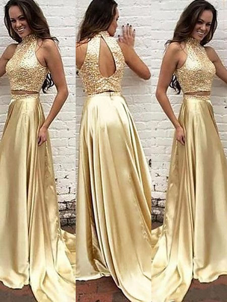 A-Line/Princess Sleeveless High Neck Sweep Train Gold Satin Prom Dresses