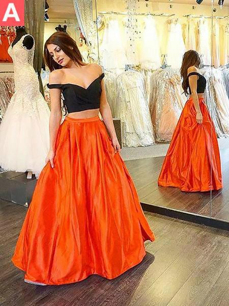 A-Line/Princess Sleeveless Off-the-Shoulder Long Orange,Dark Green Taffeta Prom Dresses
