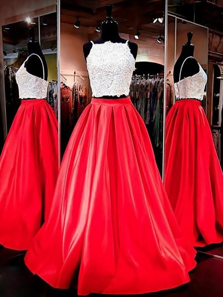 A-Line/Princess Sleeveless Spaghetti Straps Long Red,Orange Satin Prom Dresses