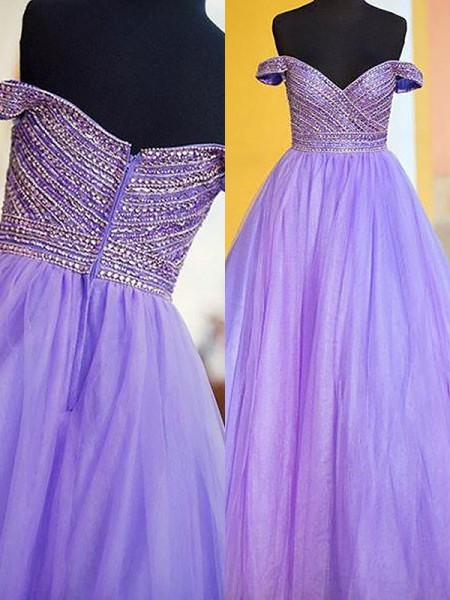 Ball Gown Sleeveless Off-the-Shoulder Long Lilac Tulle Prom Dresses