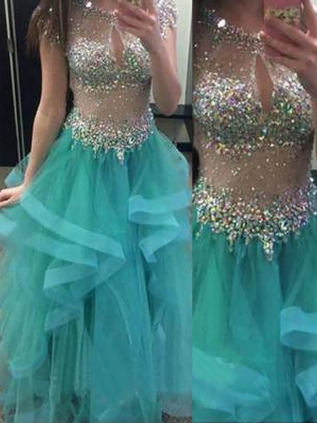 Ball Gown Sleeveless Jewel Long Blue Organza Prom Dresses
