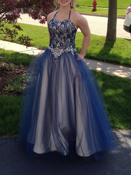 Ball Gown Sleeveless Spaghetti Straps Long Blue Tulle Prom Dresses