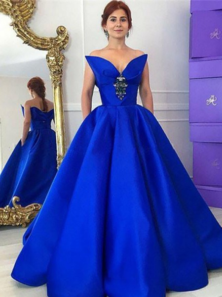 Ball Gown Sleeveless V-neck Long Royal Blue Satin Prom Dresses