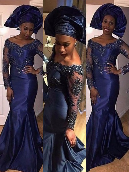 Mermaid Long Sleeves V-neck Sweep Train Dark Navy Satin Prom Dresses