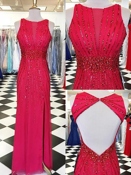 Sheath/Column Sleeveless Bateau Long Red Chiffon Prom Dresses