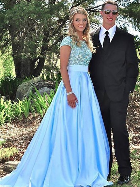 A-Line/Princess Short Sleeves Bateau Sweep Train Light Sky Blue Satin Prom Dresses