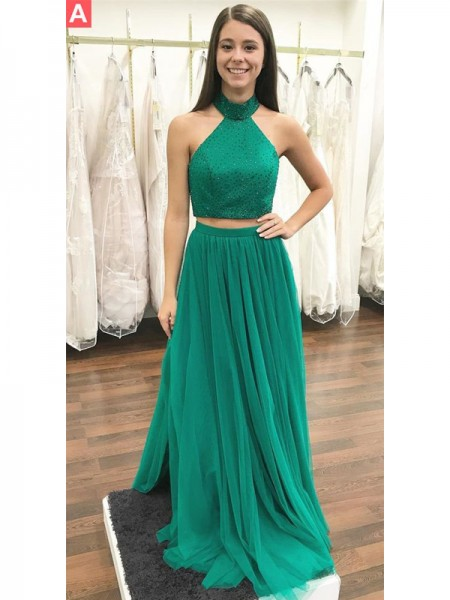 A-Line/Princess Sleeveless Halter Long Dark Green,Burgundy Tulle Prom Dresses