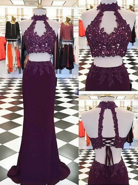 Sheath/Column Sleeveless Halter Long Burgundy Spandex Prom Dresses