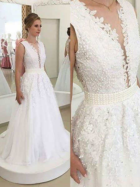 A-Line/Princess Sleeveless V-neck Sweep Train Ivory Tulle Wedding Dresses