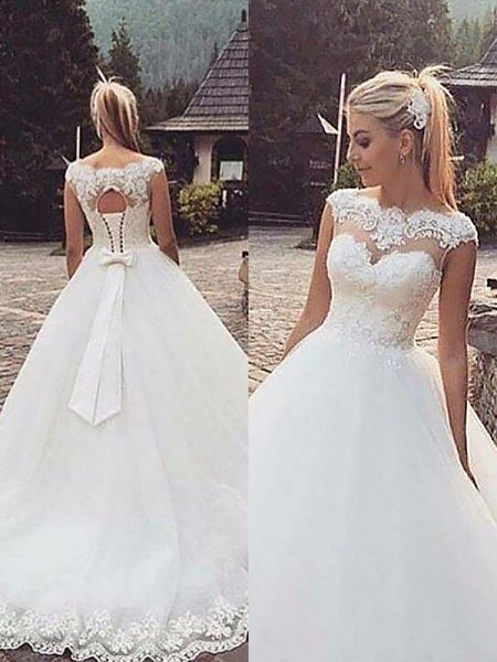 Ball Gown Sleeveless Bateau Court Train Ivory Tulle Wedding Dresses