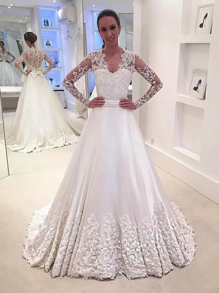 A-Line/Princess Long Sleeves V-neck Sweep Train Ivory Satin Wedding Dresses