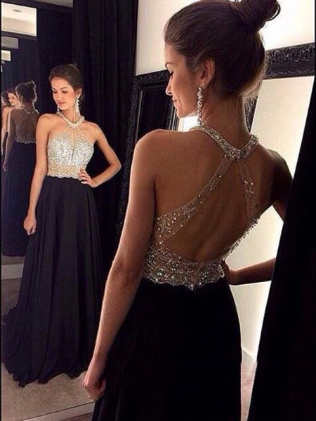 A-Line/Princess Sleeveless Halter Sweep Train Black Chiffon Prom Dresses