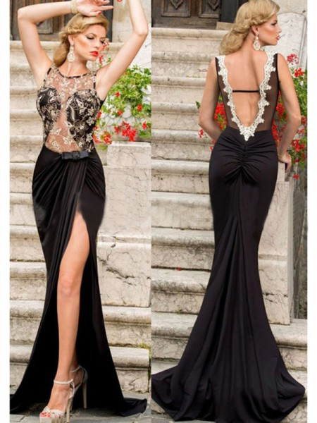 Mermaid Sleeveless Scoop Sweep Train Black Jersey Prom Dresses